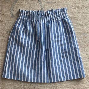J. Crew blue and white striped paper bag skirt sz2